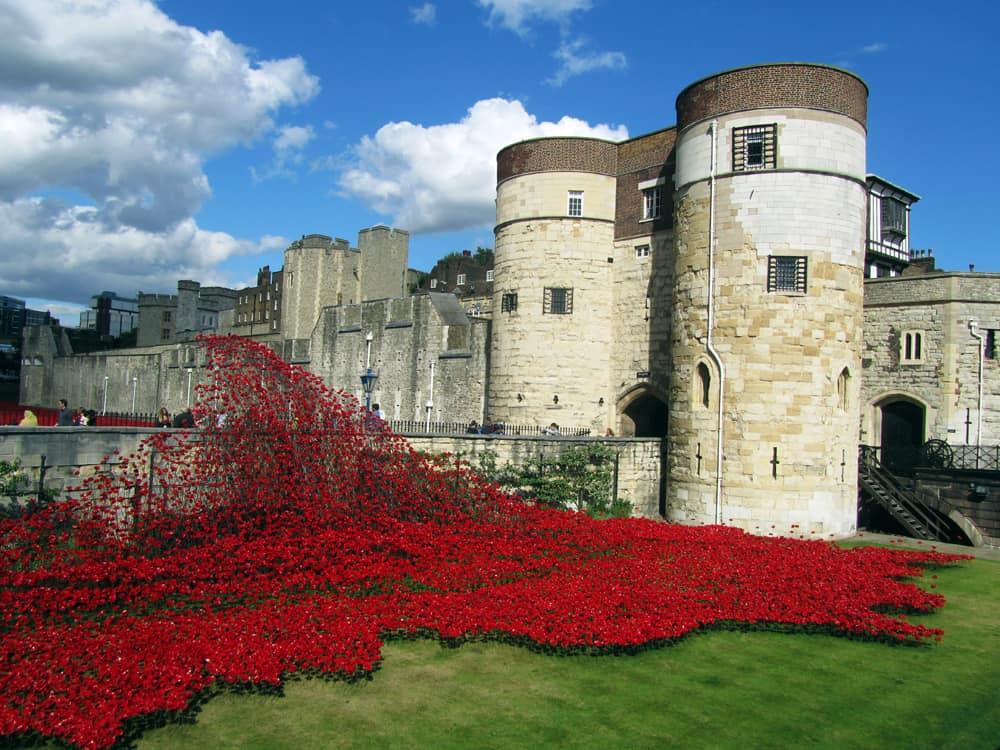 Tour de Londres - coquelicots centenaire Première Guerre mondiale ©Etpourtantelletourne.fr