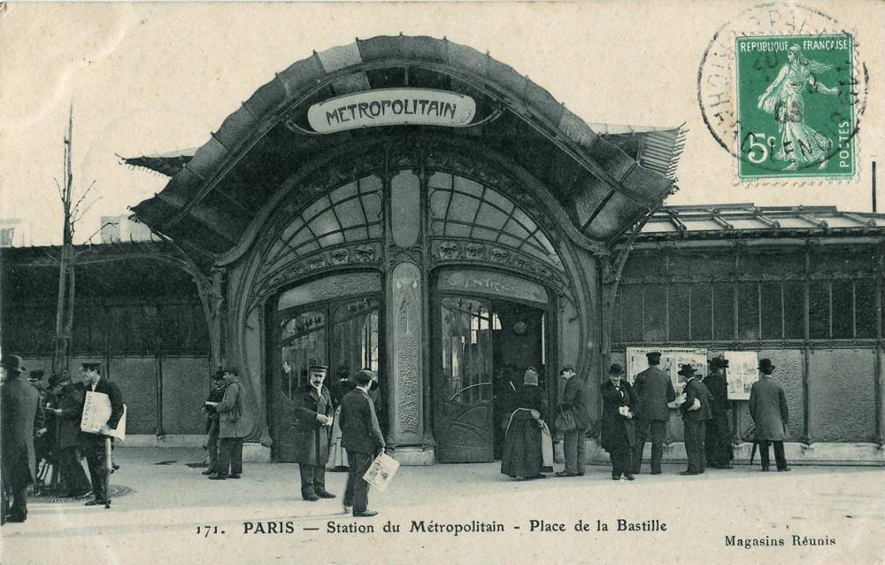PARIS Station du Métropolitain Plac de la Bastille, exposition universelle 1900
