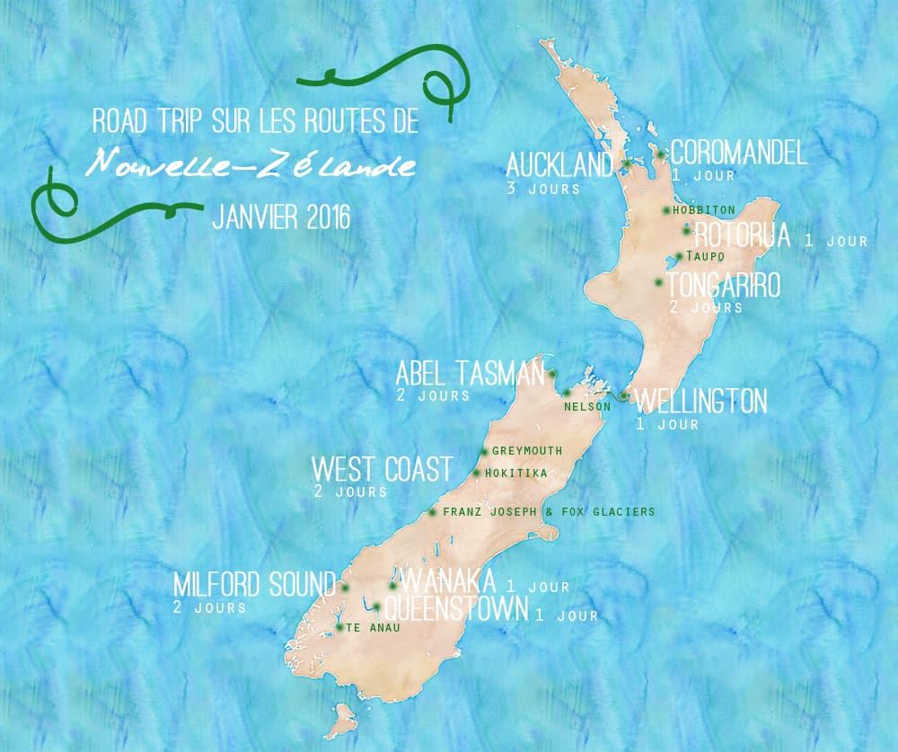 Road trip sur les routes de Nouvelle-Zélande - carte 2016 ©Etpourtantelletourne.fr